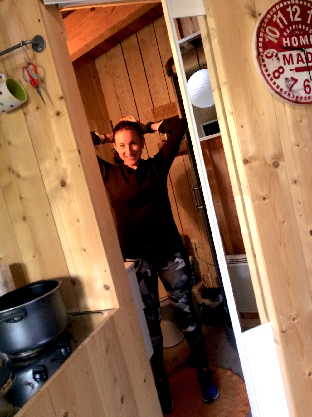 When I thought I might wear a jacket! Bonus: peep this tiny-house bathroom with a sliding door.