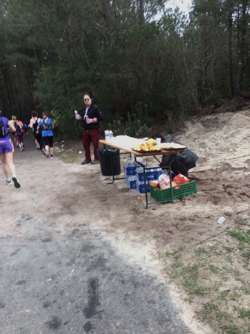 Terrible photo, excellent aid station.