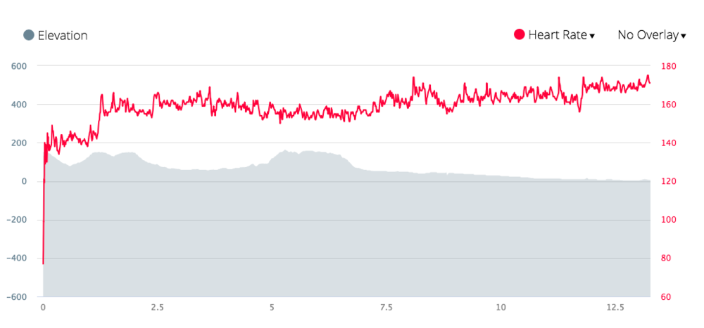 Came away with an average heart rate of 159 bpm, much lower than I expected! Perhaps I could have run a bit harder...