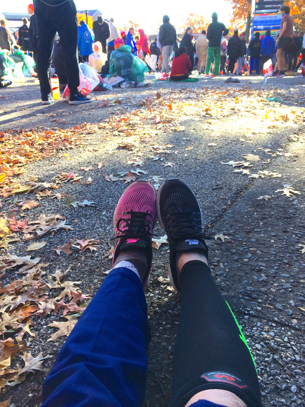 """Before and after — I changed socks, shoes, and added calf sleeves before entering my corral (and rubbed my usual """"hot spots"""" with Vaseline, too)."""