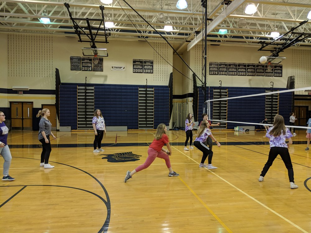 Volleyball with team members from multiple schools