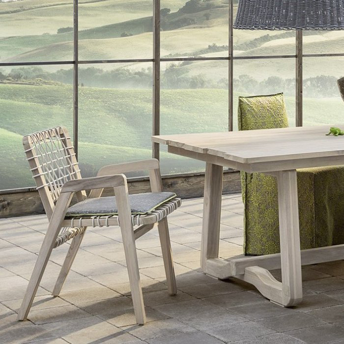 GERVASONIINOUT 866 - Dining chair, aged teak frame woven with grey HDPE.