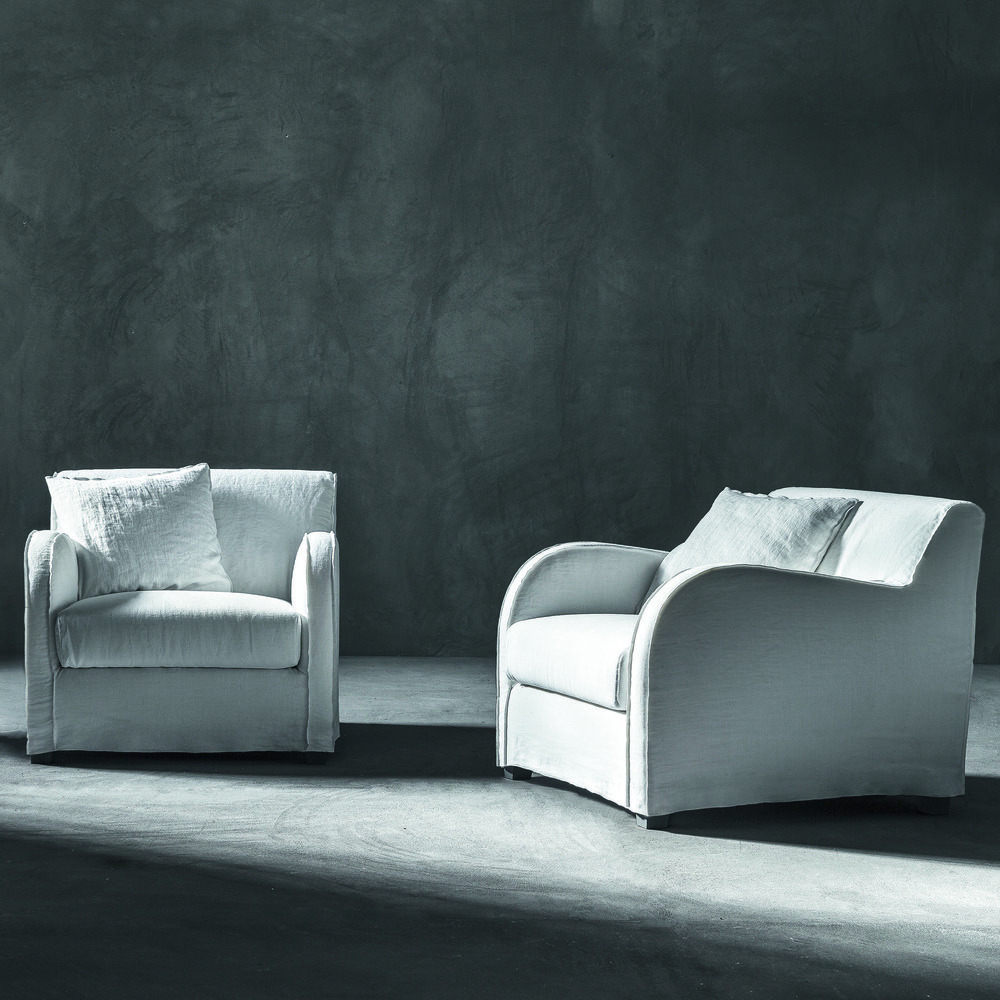 gervasoni next 01 - Armchair, One back cushion 45x45 cm. Removable covers in White Linen.