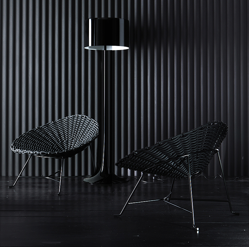 gervasoni sweet 27 - Armchair,metal frame woven, available in white.