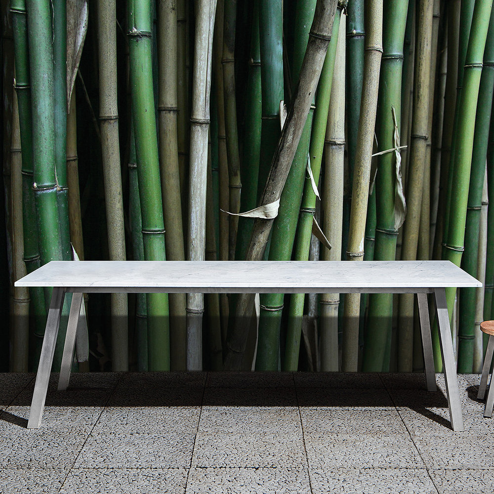 gervasoni inout 133/134 - Table,aluminium frame, available in white.