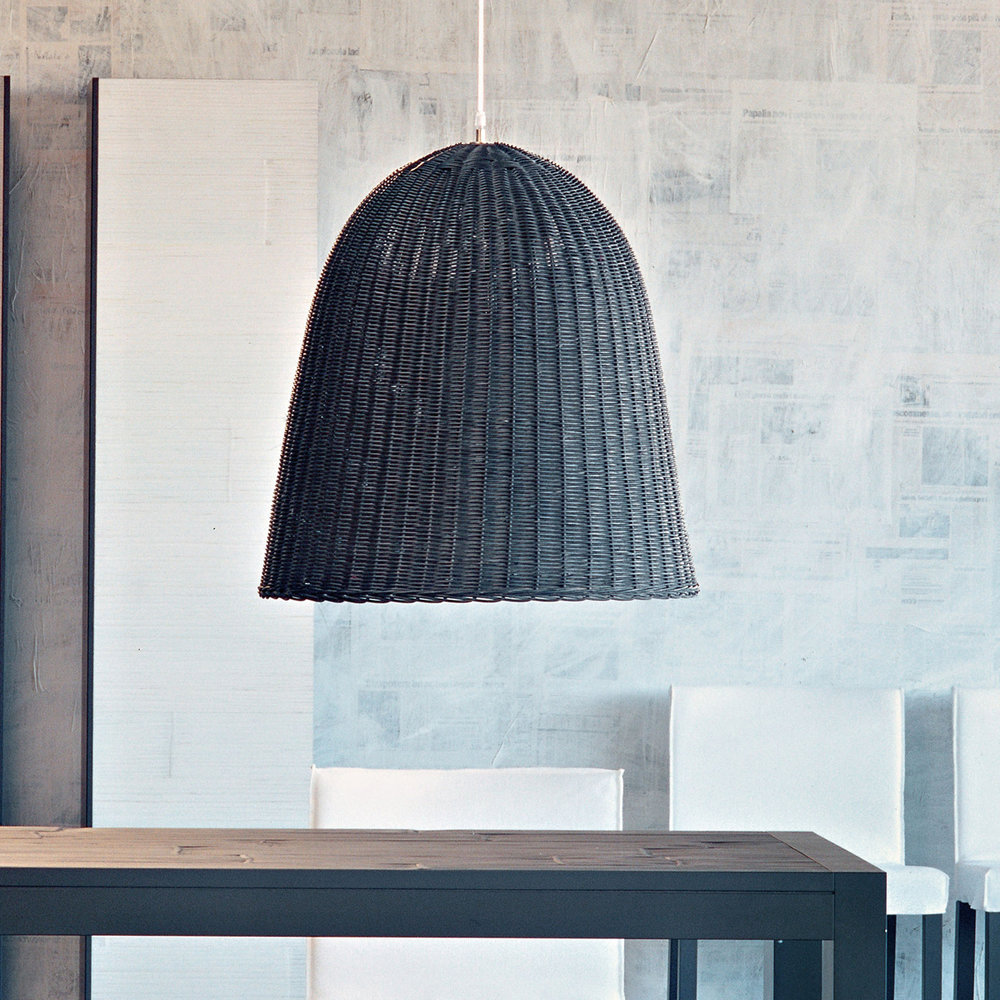 Gervasoni Bell 95 - Suspension lamp in natural melange rattan core, handwoven, max. Available in white.