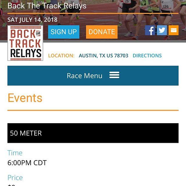 My next timing event. Register at https://runsignup.com/Race/TX/Austin/BackTheTrackRelays