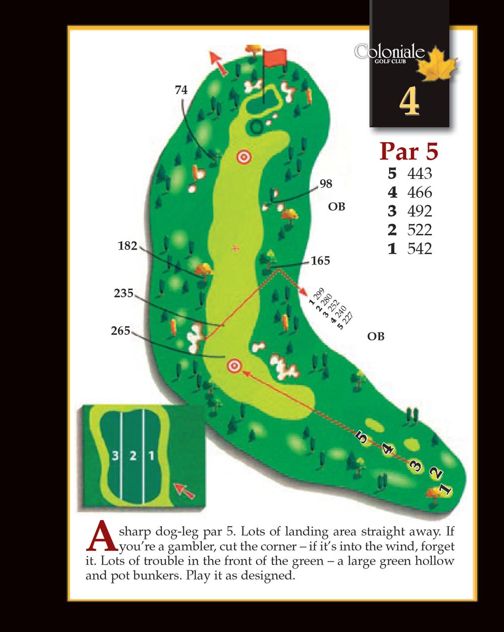 Coloniale Golf Scorecard Edmonton Beaumont - Hole 4