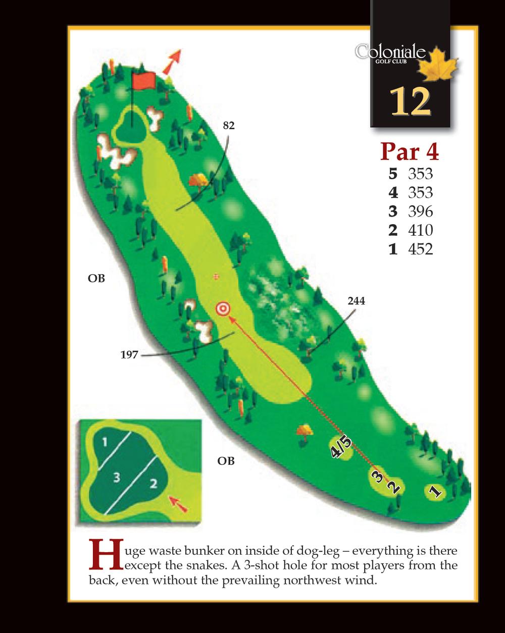 Coloniale Golf Scorecard Edmonton Beaumont - Hole 12