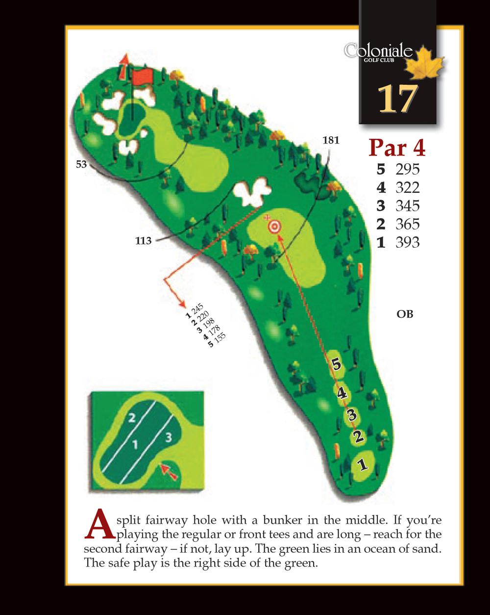 Coloniale Golf Scorecard Edmonton Beaumont - Hole 17