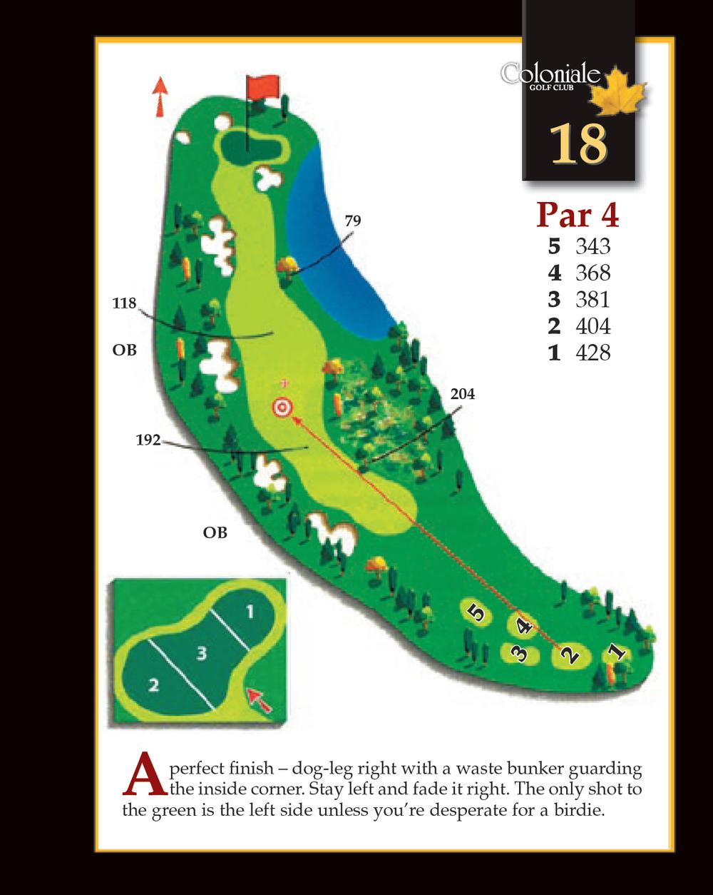 Coloniale Golf Scorecard Edmonton Beaumont - Hole 18