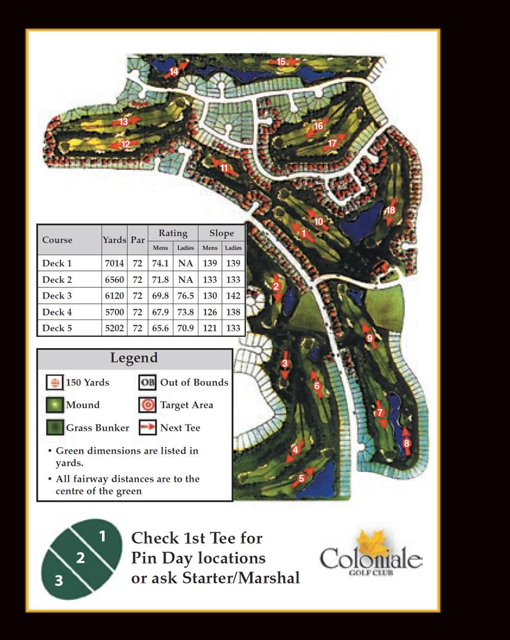 Coloniale Golf Scorecard Edmonton Beaumont - Course