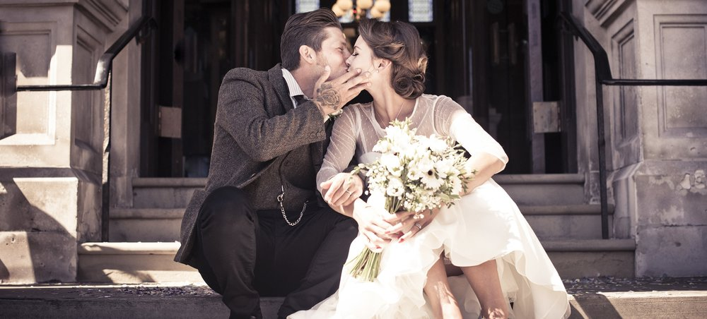 Couple Kissing on Steps | Contact Details for Sarah Wenban Wedding Photography in Brighton | Lewes