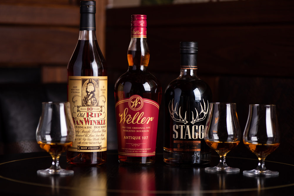 PAPPY FOR PAPPY TASTING FLIGHT - Old Rip Van Winkle 10yrStagg Jr Barrel Proof,   Old Weller Antique$45