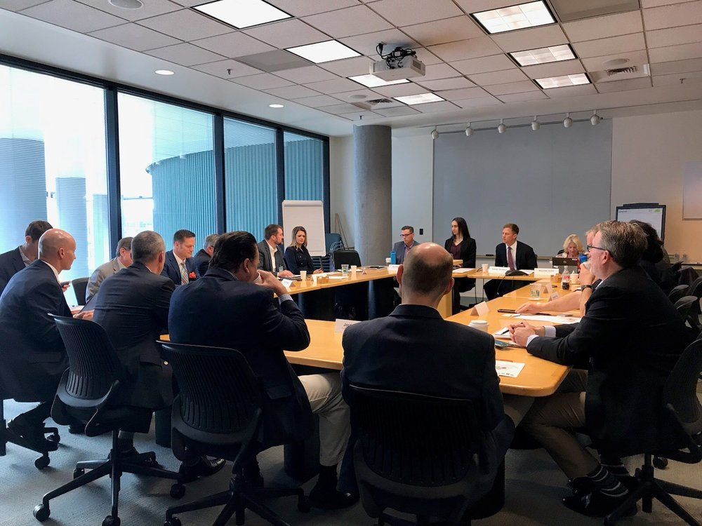 Shelly discussing PNW transportation, trade and ports with U.S. Dept. of Commerce officials and other experts from around the PNW.