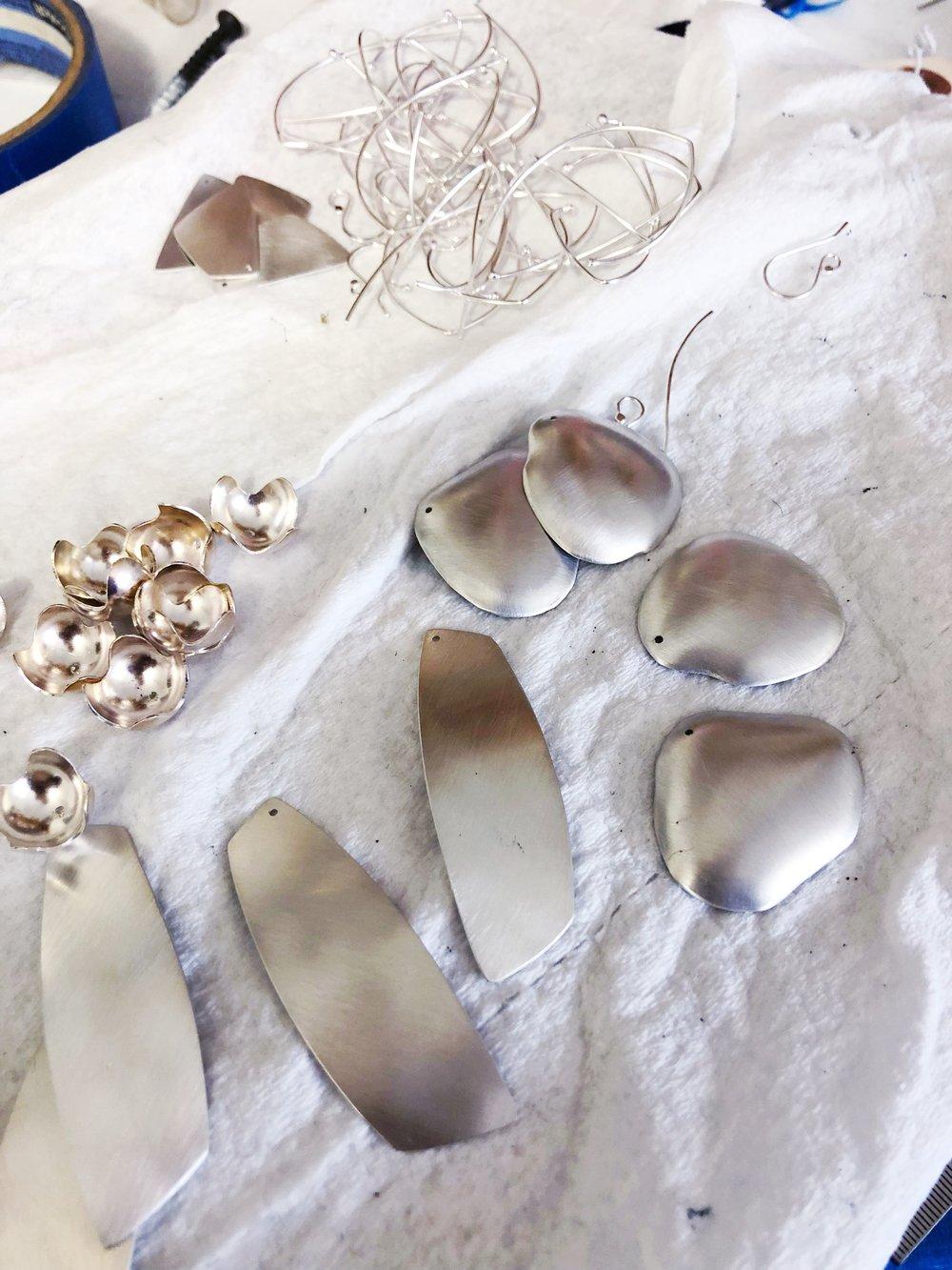 Earrings in Progress