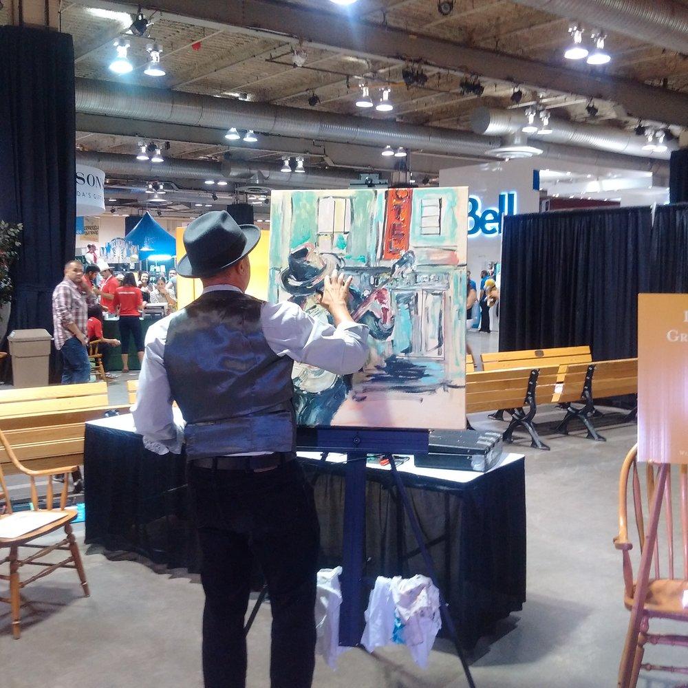 Calgary Stampede,  painting demo, July 2016.