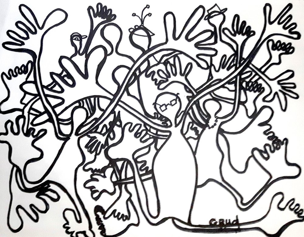 #1804    Price: C$125.    Size: 11x14in.    Medium: Black marker on paper    This drawing is a one of a kind , original, and comes matted.     Purchase Inquiry