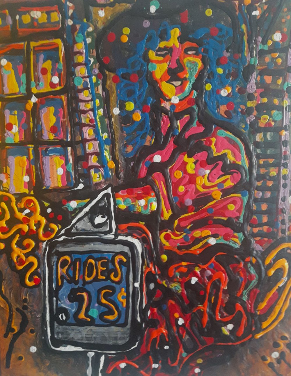 Rides .25, Acrylic on canvas, 20x16,