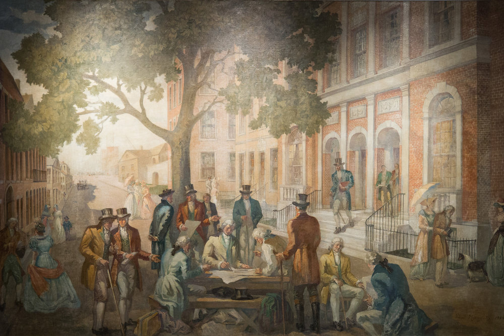 The signing of the original Buttonwood Tree Agreement in 1792.