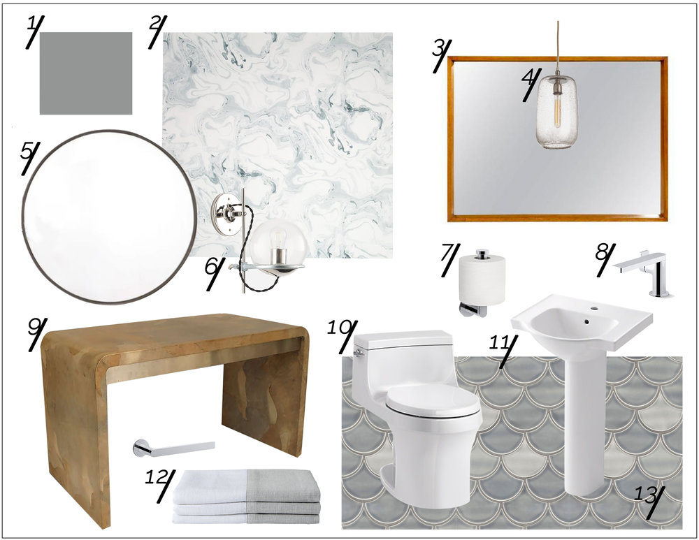Powder Room Tranquility Shopping Guide  xo, Ebright Design
