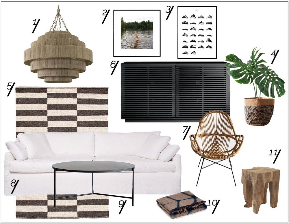Black, White & Beachy Living Room Shopping Guide   xo, Ebright Design