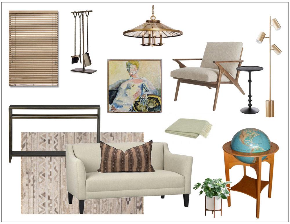 modernized mid-century living room -