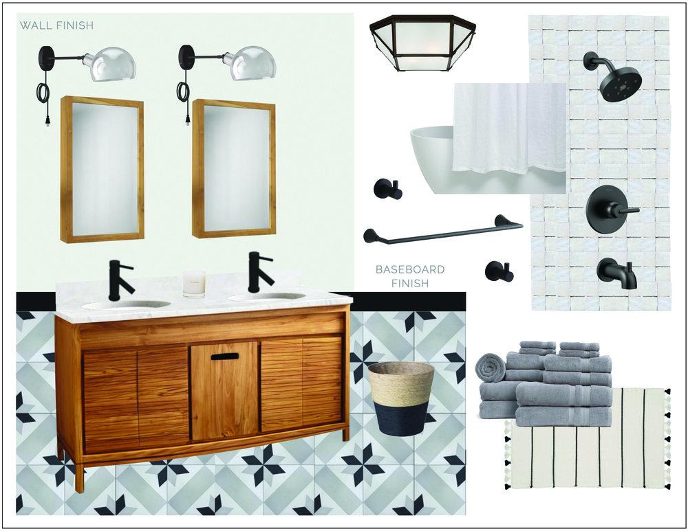 teak + tile bathroom -