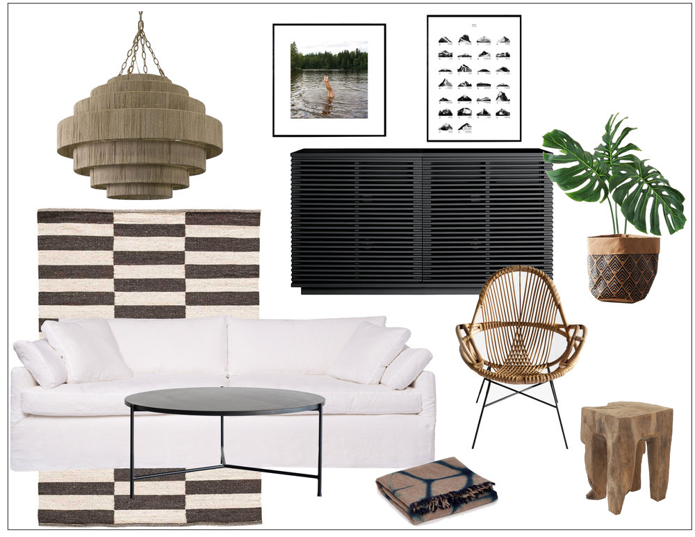 black, white & Beach-y living room -