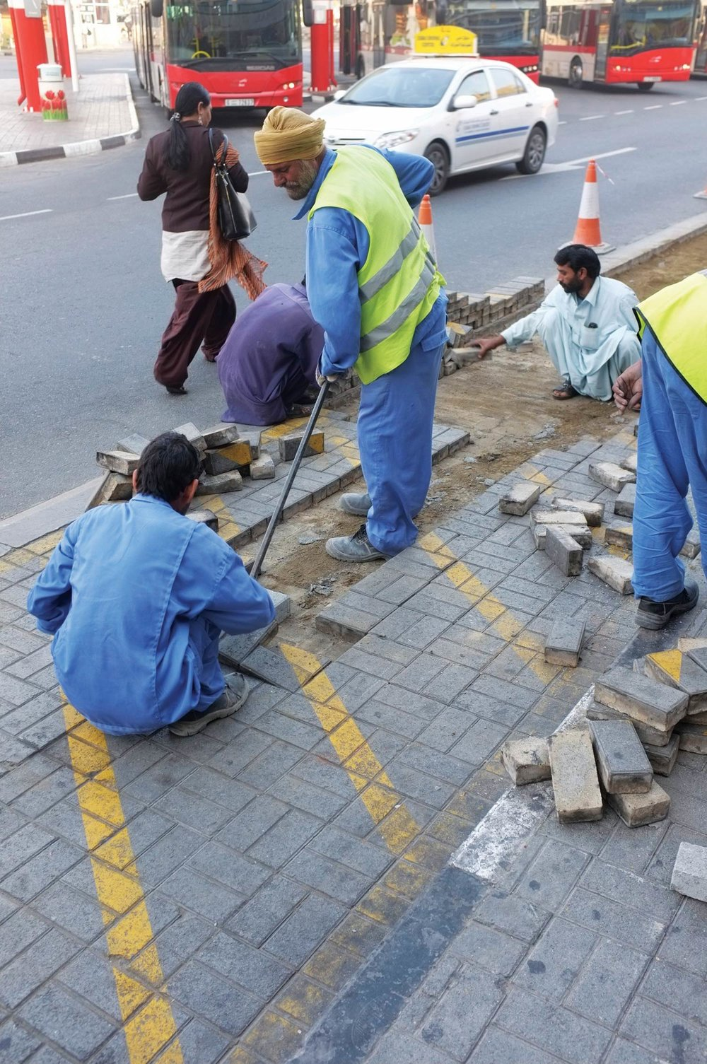 Pavement bricks being removed  Al Ghubaiba bus station, Bur Dubai