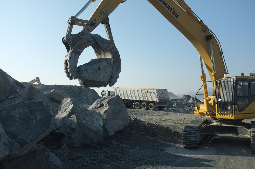 Collecting boulders for installation  Quarry yard, Fujairah