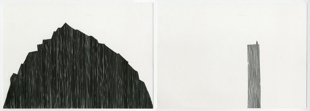 Absent Mountain , 2017 Ink on acid free fine grain paper Diptych: 21 x 29.7 cm each