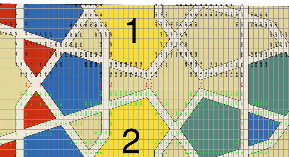 Mashrabiya design tile grid plan, section LHS Unit-27 for West Underpass