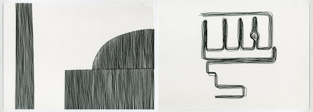 Unattended Slippers , 2017 Ink on acid free fine grain paper Diptych: 21 x 29.7 cm each