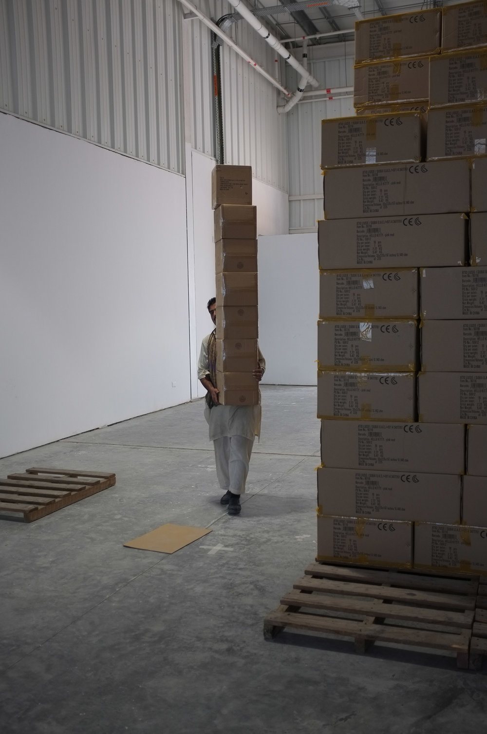 Goods being moved out Warehouse 82, Alserkal Avenue, Dubai