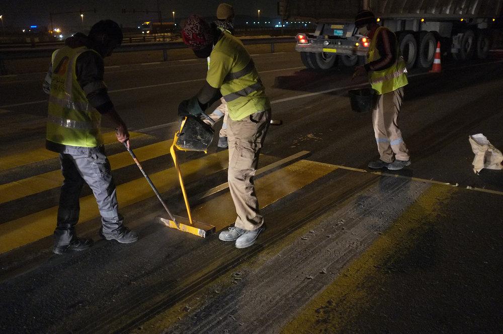Road Marking crew  Jabal Ali-Lehbab Road, Dubai