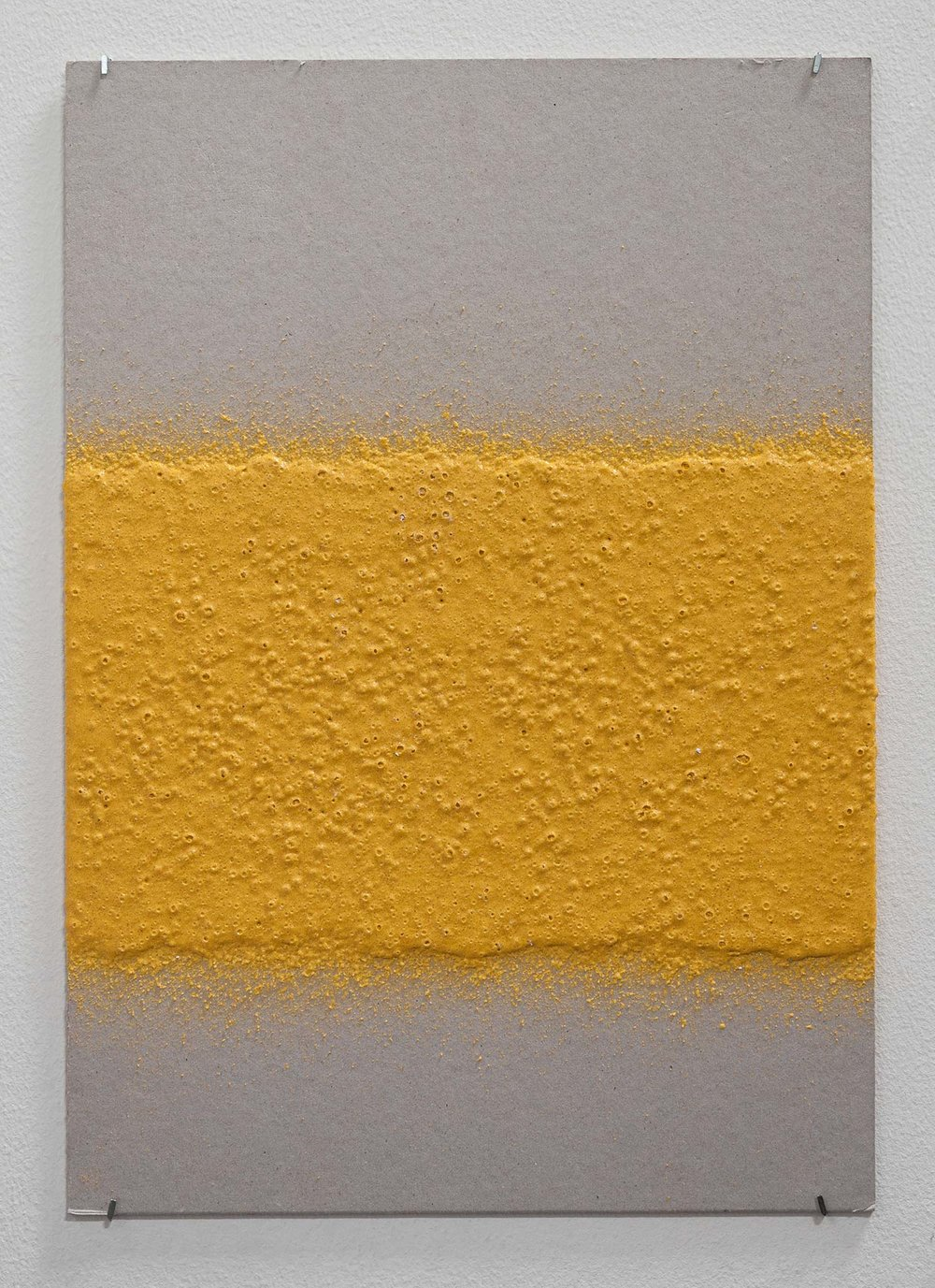 200mm (W), 1.5mm (T), Yellow, edge line (613), machine marking, remarking, D83 Nad Al Hamar, LP 10,  2017  Thermoplastic paint and reflective glass particles on grey board  35 x 50 cm