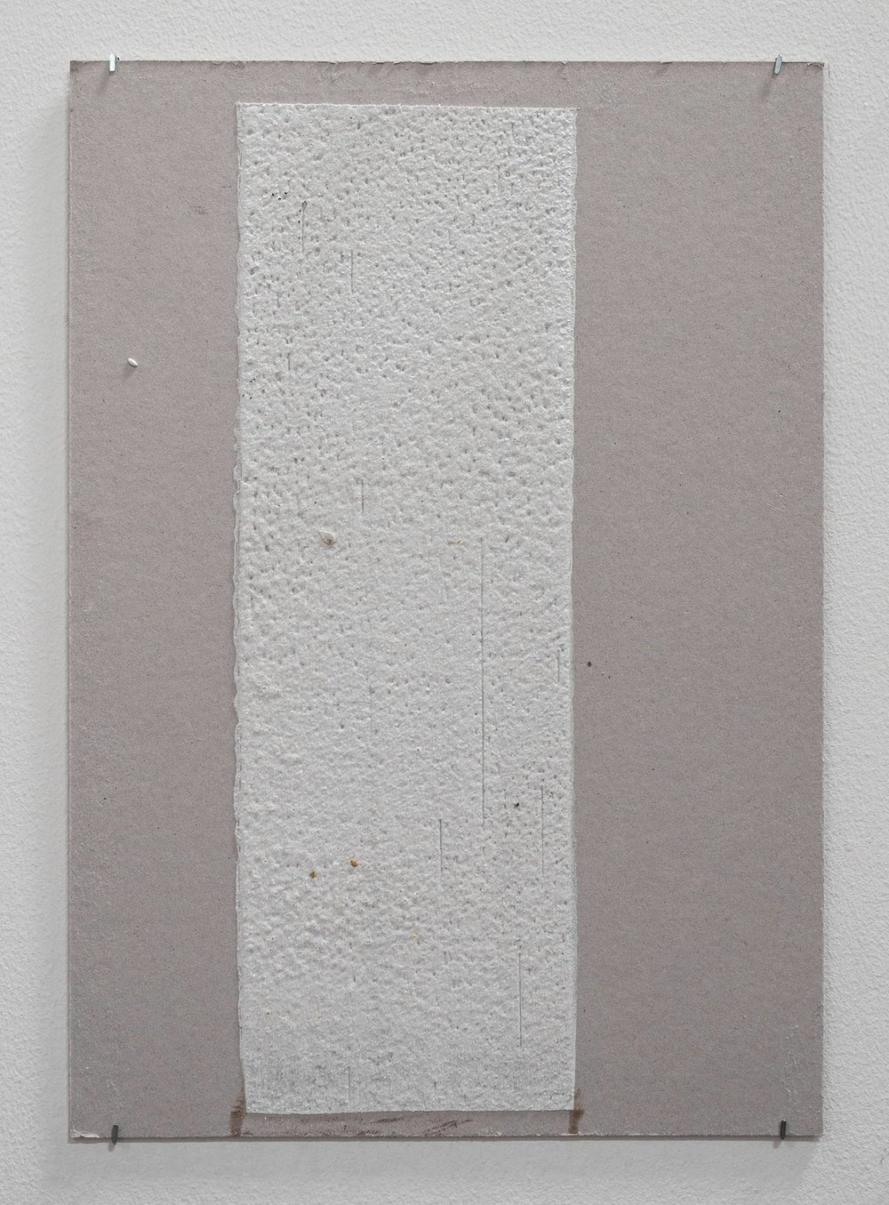 150mm (W), 1.5mm (T), White, Random mark, hand marking, Al Barsha South, Unnamed street,  2017  Thermoplastic paint and reflective glass particles on grey board  35 x 50 cm