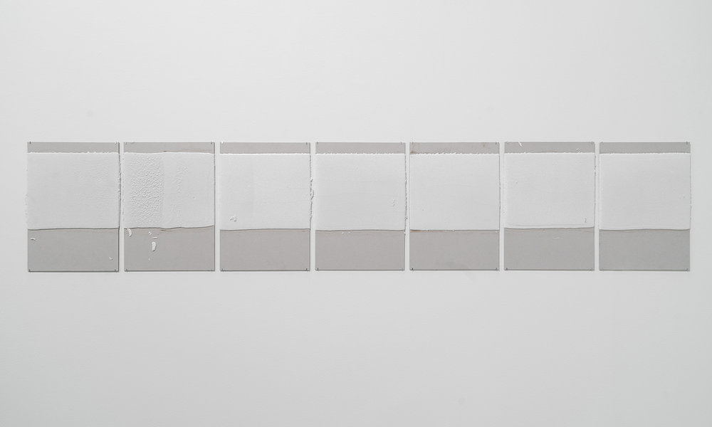 300mm (section) (W), 5mm (T), White, Stop Line (601), Hand Marking, Remarking, D88 Omar Bin Al Khattab St, LP 47,  2017  Set of 7 works  Thermoplastic paint and reflective glass particles on grey boards  50 x 35 cm each