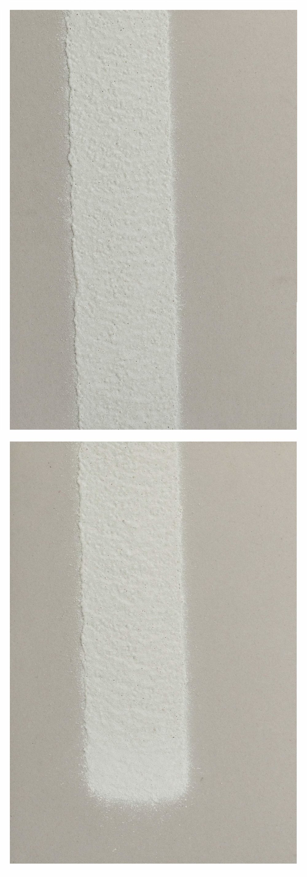 100mm (W), 1.2mm (T), White, Parking envelope line (620), 1000mm (L), machine marking, remarking, Al Barsha 1, St 25b,  2017  Thermoplastic paint, reflective glass particles and grey board  Diptych: 50 x 35 cm each