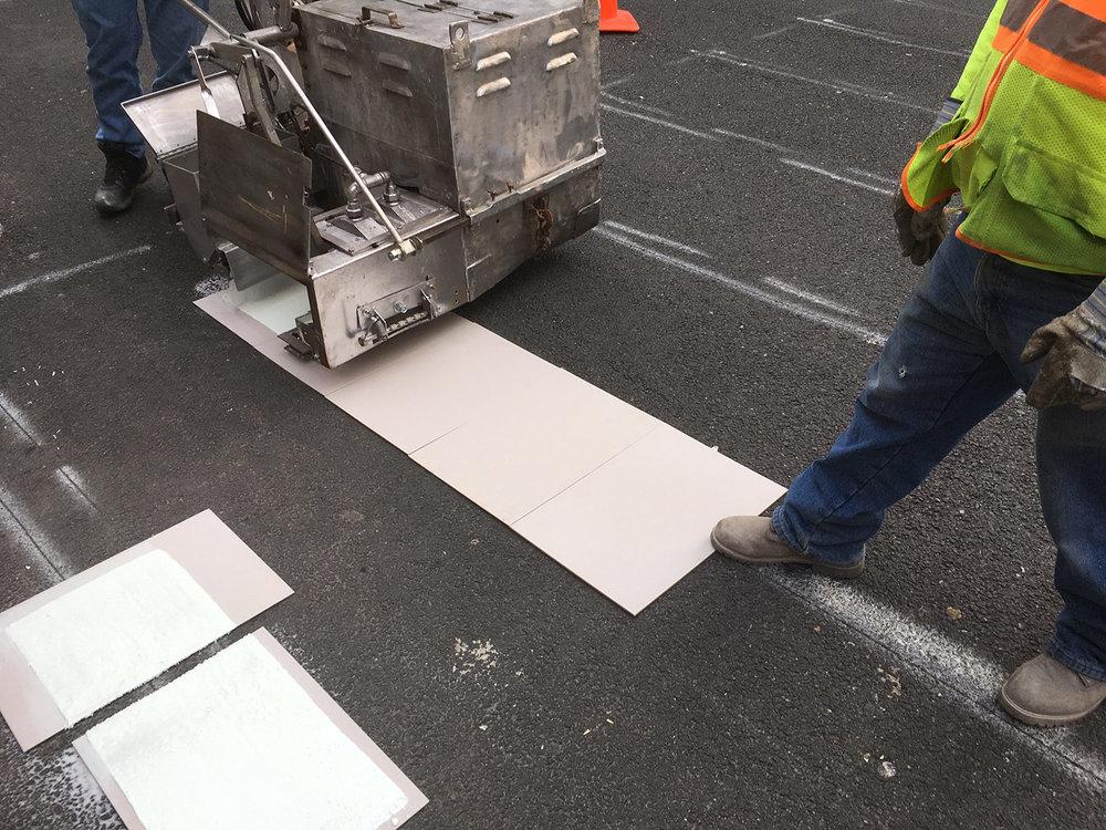 Road Marking crew  Lexington Avenue, E89 St intersection, Manhattan, New York