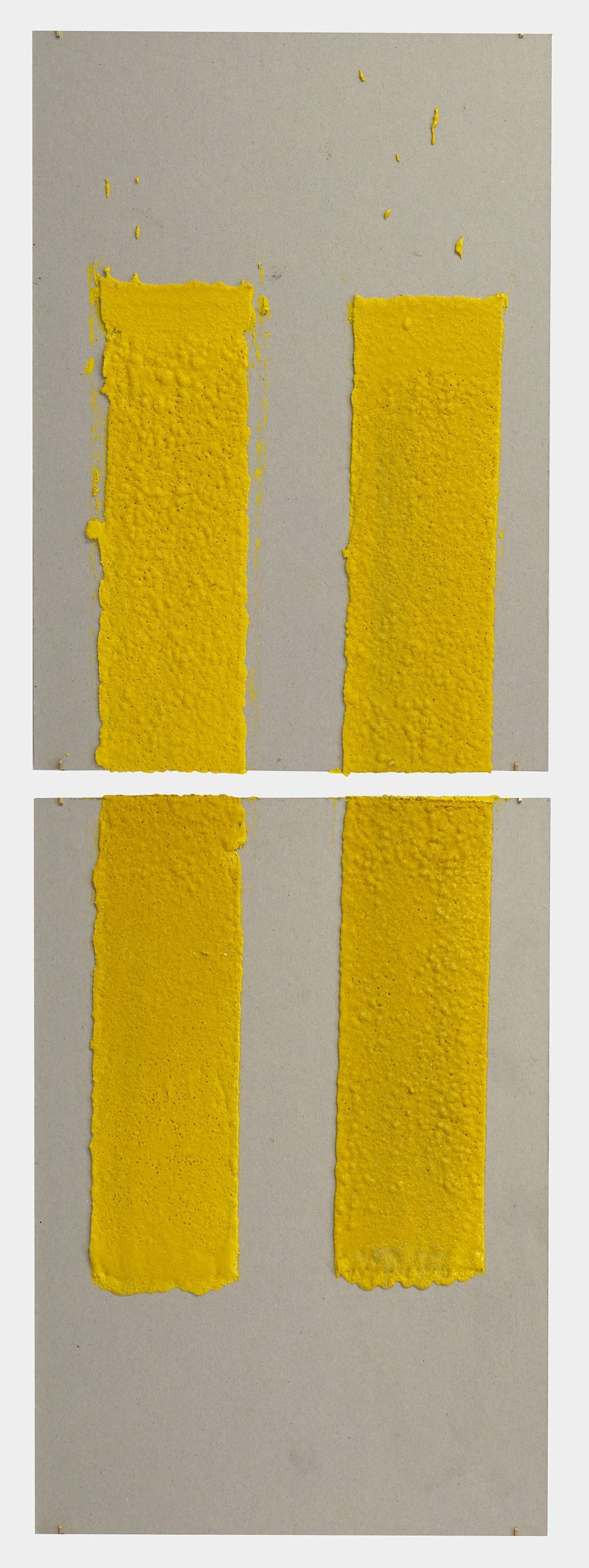 4in (section) (W), 2.27mm (T), Yellow, Double Yellow discontinuous, Manual marking, Lewis St, Btw Delancey St - Grand St,  2018  Thermoplastic paint, reflective glass particles on grey board  Diptych: 50 x 35 cm each