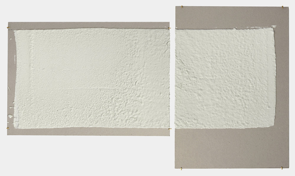 12in (section) (W), 2.27mm (T), White, Crosswalk, Manual marking, Lexington Ave, E89 St int,  2018 Thermoplastic paint, reflective glass particles on grey board  Diptych: 50 x 35 cm each
