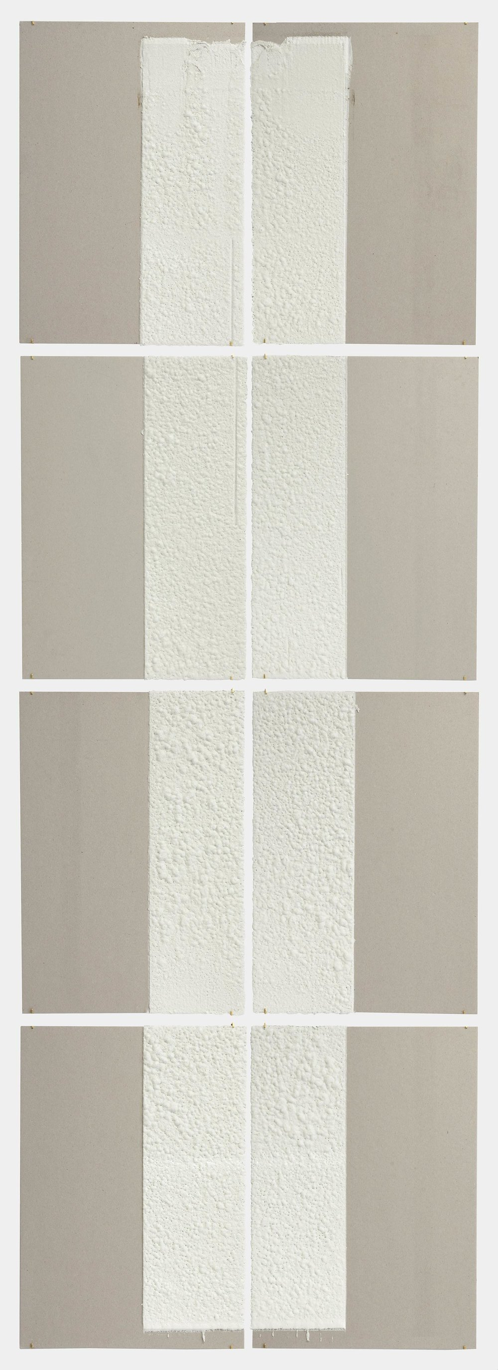 12in (section) (W), 2.27mm (T), White, Crosswalk, Manual marking, Lispenard St, Church St int,  2018  Set of 8 works Thermoplastic paint and reflective glass particles on grey boards 50 x 35 cm each