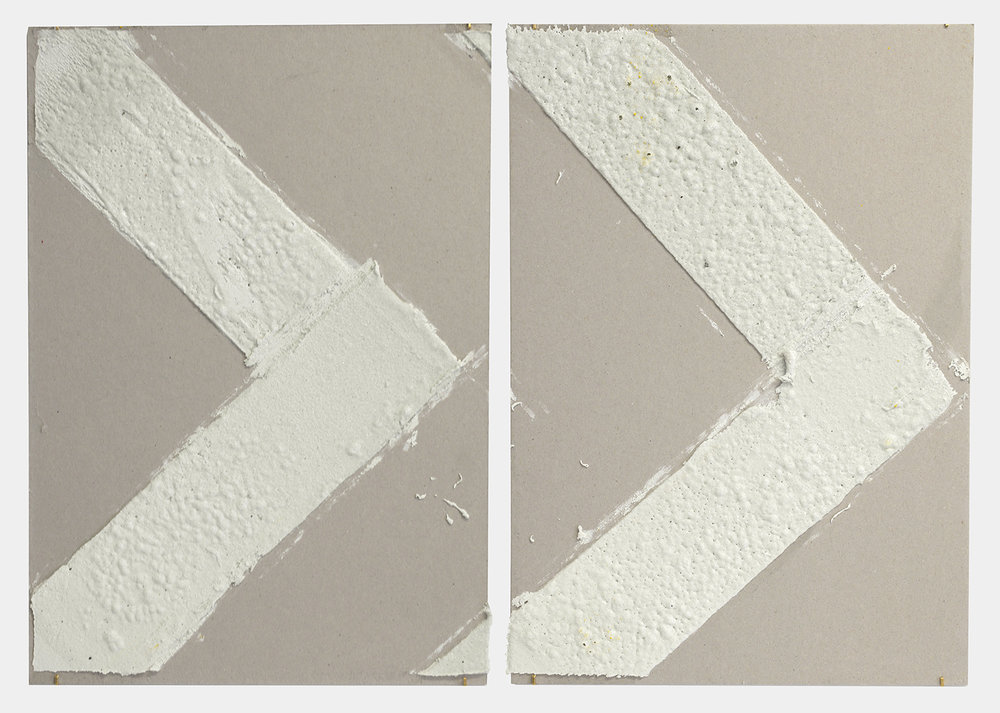 4in (section) (W), 2.27mm (T), White, Chevron, Manual marking, Delancey St, Lewis St int,  2018  Thermoplastic paint, reflective glass particles on grey board  Diptych: 50 x 35 cm each