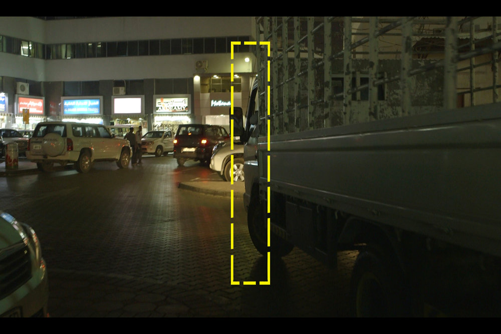 Footage Still  Highlighted in Yellow - video cropping in ratio to Boundary wall's cross section dimensions