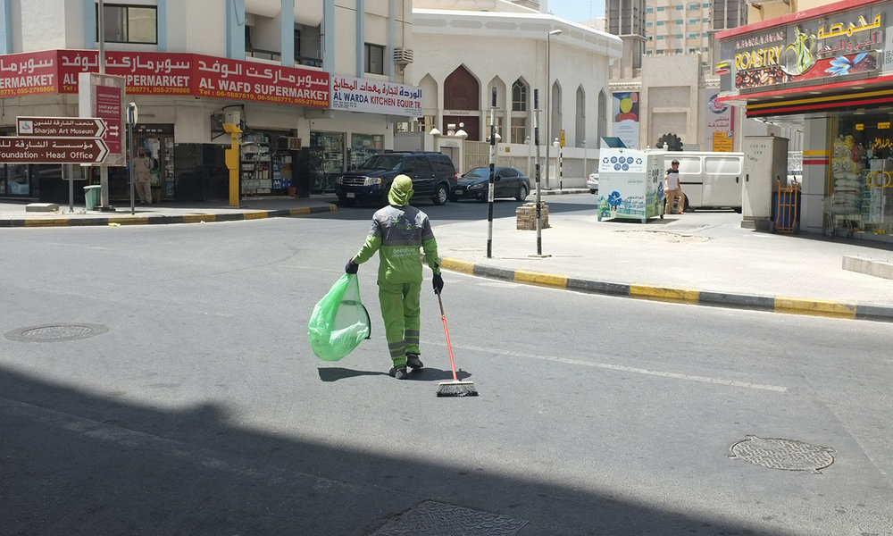 Sweeping ,  2016  The routes of five municipal street sweepers are remapped to converge towards Sharjah Art Museum. Everyday, they deposit freshly collected trash bags in a row, creating an ephemeral public work.