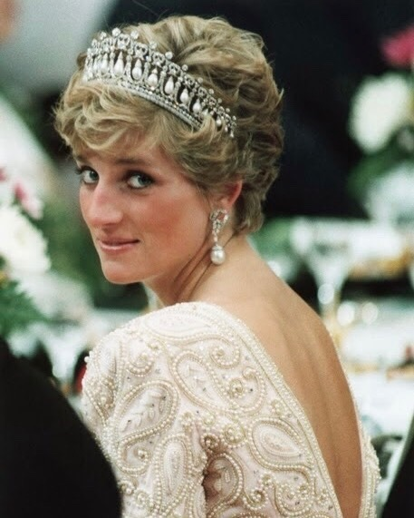 Princess Diana in the Cambridge Lover's Knot Tiara, made from pearl and diamonds which were sourced from older pieces in the royal collection.
