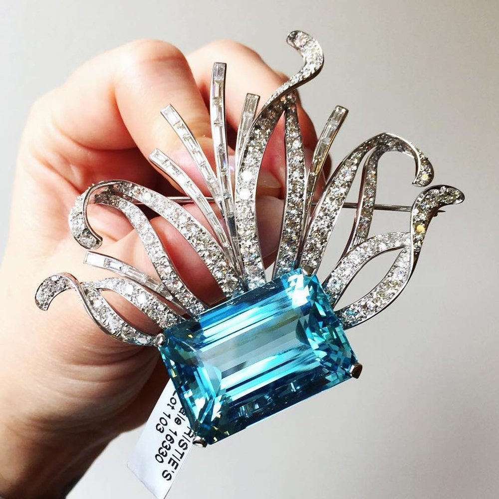 Aquamarine and diamond brooch by Paul Flato.