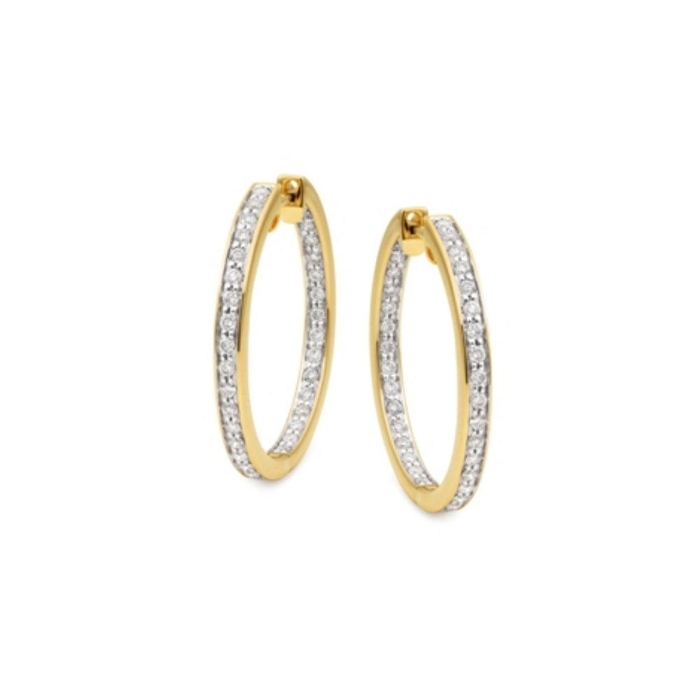 9ct Yellow Gold Diamond Hoops